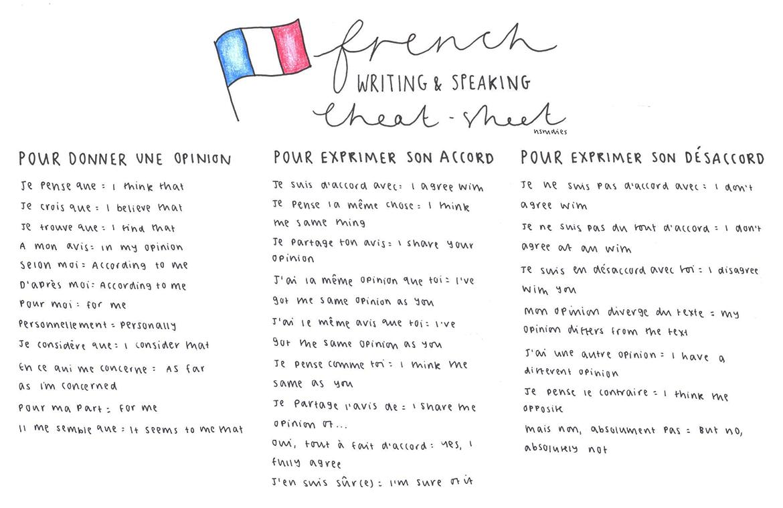 french cheat sheet